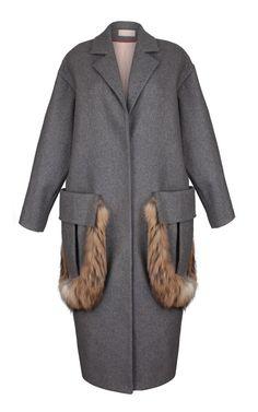Oversized Grey Coat With Fur Trim by Ruban - Moda Operandi