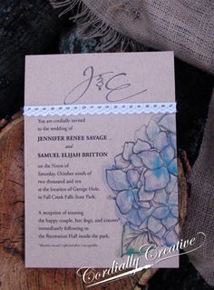 Hydrangea & lace #wedding #invitation www.cordiallycreative.com