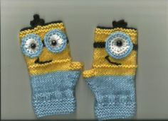 Minion Like Children's Fingerless Gloves Sizing Will Fit Middle School to Teen   eBay