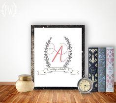 Nursery Printable letters baby name nursery monogram initial art print, customized personalized wall decoration, laurel wreath