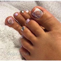 37 Super Ideas For Spring Pedicure Designs Toenails Nailart Gel Toe Nails, Gel Toes, Cute Toe Nails, Cute Toes, Pretty Toes, Toe Nail Art, My Nails, Purple Toe Nails, Purple Glitter