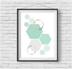 Mint Art, Mint Print, Copper Art, Rose Gold Print, Geometric Print, Pastel Art, Hexagon Poster, Kids Room Art, Mint Home Decor, Digital Art by PrintAvenue on Etsy https://www.etsy.com/listing/266232118/mint-art-mint-print-copper-art-rose-gold