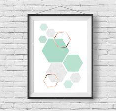 Mint Art, Mint Print, Copper Art, Rose Gold Print, Geometric Print, Pastel Art, Hexagon Poster, Kids Room Art, Mint Home Decor, Digital Art by PrintAvenue on Etsy https://www.etsy.com/listing/266232118/mint-art-mint-print-copper-art-rose-gold