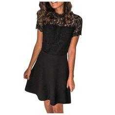 Tsmile Women Plus Size Lace Splicing Dress Round Neck Short Sleeve Sheer Mesh High Waist Petite Evening Dresses Petite Evening Dresses, Formal Dresses, Plus Size Women, High Waist, Mesh, High Neck Dress, Lace, Sleeves, Fashion