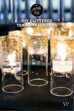 DIY Gold Glittered Tealight Holders for wedding decorations #weddingdecor #diywedding #gold #goldwedding #diy