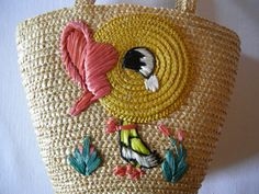 Lovely Vintage Easter Straw Bag Childs Tote Bag Retro Bag with Chick