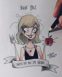 """I made this illustration """"INSANE"""" inspired on Blank Space music video and on the art style of Tim Burton! Tim Burton Art Style, Tim Burton Stil, Tim Burton Kunst, Tim Burton Drawings Style, Tim Burton Sketches, Tim Burton Artwork, Desenhos Tim Burton, Taylor Swift Drawing, Arte Sketchbook"""