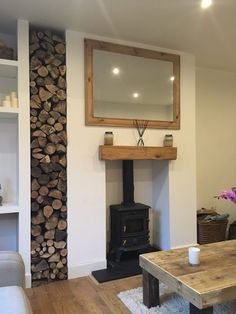 Wonderful Cost-Free Fireplace Hearth pad Thoughts Stacked logs next to wood burning stove in living room Log Burner Living Room, Living Room With Fireplace, New Living Room, Small Living, Wood Burner Fireplace, Fireplace Hearth, Fireplace Ideas, Wood Stove Hearth, Wooden Fireplace