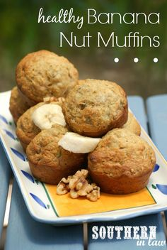 Gluten Free Banana Nut Muffins Recipe - healthy, low fat, whole wheat, sugar free, clean eating friendly food clean eating food healthy food ideas food photography food plan food recipes Healthy Muffin Recipes, Healthy Muffins, Healthy Sweets, Healthy Baking, Banana Walnut Muffins Healthy, Low Calorie Muffins, Low Fat Muffins, Banana Oat Muffins, Breakfast Healthy