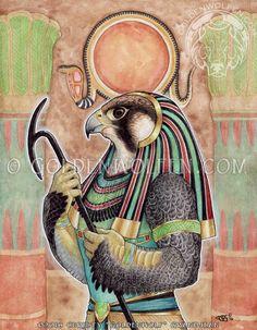 Egyptian Falcon-headed Sun God Ra Print by goldenwolfart on Etsy Ancient Egyptian Deities, Egyptian Mythology, Egyptian Art, Ancient Artifacts, Horus Tattoo, Egypt Tattoo, Gods And Goddesses, Occult, Maya