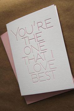 You're the one that I love best letterpress by WishboneLetterpress, $4.00