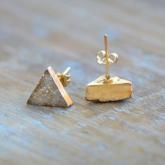 Triangle Druzy Crystal Earring Posts with par ingredientsforlovely