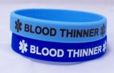 Blood Thinner 2 Pack Medical Alert Light and Dark Blue Silicone Bracelets -- Check this awesome image @ http://www.amazon.com/gp/product/B0085AVITY/?tag=ilikeboutique09-20&mn=270716002838