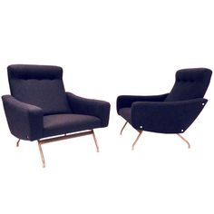 Pair of armchairs by Joseph Andre Motte | From a unique collection of antique and modern lounge chairs at http://www.1stdibs.com/furniture/seating/lounge-chairs/