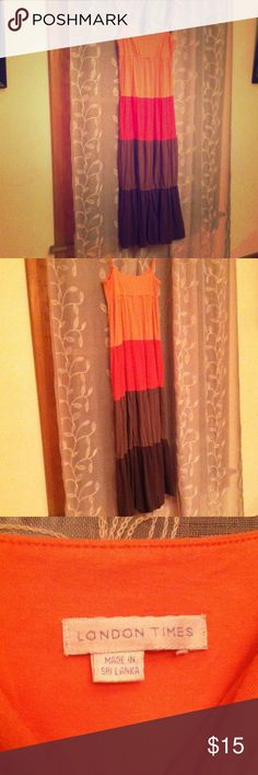 London Times jersey maxi tiered dress Great dress, graded color block adjustable spaghetti straps, slight pulling but tons of life left, nice and heavy that flows nicely London Times Dresses Maxi