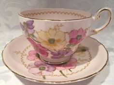 Elegant Pink Tuscan Fine Bone China TEA CUP AND Saucer With Flowers | eBay