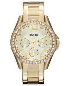 Fossil Women's Riley Gold-Tone Stainless Steel Bracelet Watch 38mm ES3203