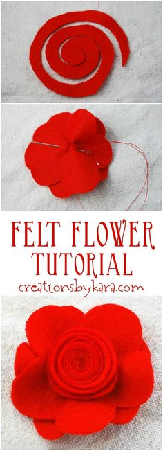 Make darling hair clips using this step by step felt flower tutorial!