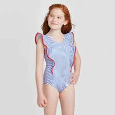 Little Girl Swimsuits, Girls One Piece Swimsuit, Blue Swimsuit, Cute Swimsuits, One Piece Swimwear, Little Girl Models, Preteen Girls Fashion, Striped One Piece, Sexy Teens