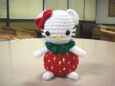 Strawberry Hello Kitty by yarnpixie, free crochet pattern