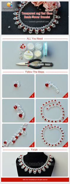 Pandahall Elite glass beads flower necklace DIY