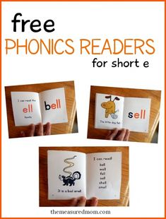 Free phonics books with short e words. Colorful and appealing!