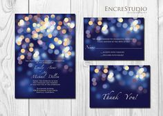 Printable Gold and Blue Bokeh Wedding Invitation  by encrestudio