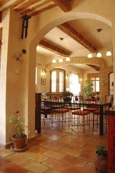 Terracotta floor tile, ceiling, brick