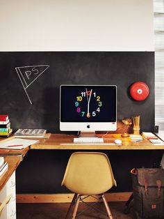 Student work desk with chalk board and the wall. #work #desk #study #essentials #scandinavian