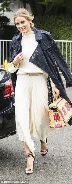 Tennis fan: The former The City star wore a cream flowing ensemble, made in a light wool, long-sleeved and floor-length