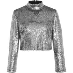 A.L.C. Keegan Sequined Cropped Top (€285) ❤ liked on Polyvore featuring tops, shirts, silver, silver sequin shirt, embellished shirt, cropped shirts, mock neck top and shirt crop top