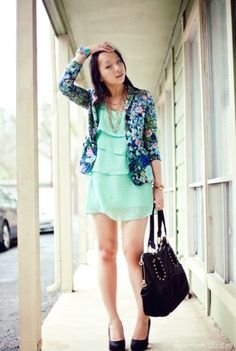 love the combination of floral with bright color