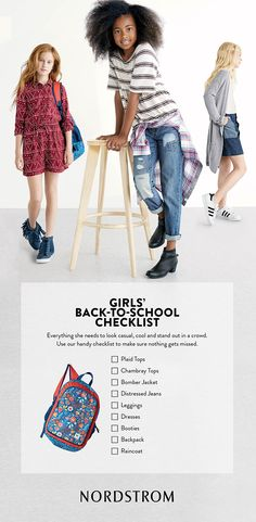The ultimate back-to-school checklist for girls! Here are the trendy pieces she'll need for back-to-school shopping, including backpacks, dresses, leggings and more. Curated by Nordstrom.