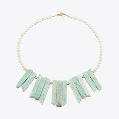 Large amazonite and cultivated pearls statement necklace with sterling silver closures.