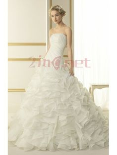 $289.68Modern Strapless Chapel Train Organza Ball Gown Wedding #Dress #With #Tiered