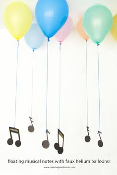 Floating musical notes party decoration