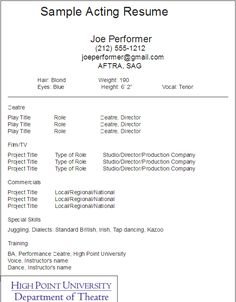 sample acting resume template - Resume For Actors