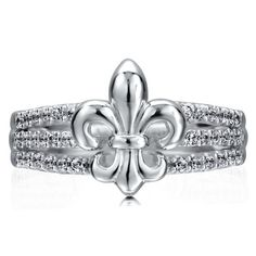 Sterling Silver 925 Fleur De Lis 3-Row Cubic Zirconia CZ Fashion Ring from Berricle - Price: $51.99