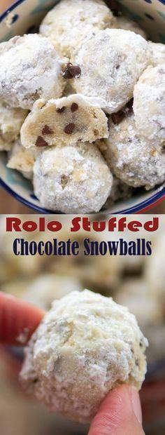 Rolo Stuffed Chocolate Snowballs