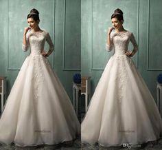 Lace Wedding Dress 2016 Amelia Sposa Wedding Dresses Sleeves Floor Length Vestidos De Novia A Line Lace Wedding Dresses 2015 Plus Size Bridal Gown Cheap J106 Wedding Dresses Under 500 From Caradress, $180.11| Dhgate.Com