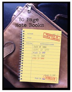 Library themed 80 page Note Book by FlyPaperProducts on Etsy