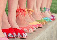 colorful crochet shoes