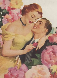 Adoration...Cashmere Bouquet ad illustrated by Harry Sundblom, ca. 1940s.