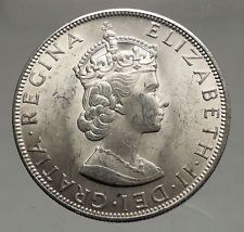 1964 Bermuda Britiash Colony LARGE Silver Crown Coin with Elizabeth II i56653