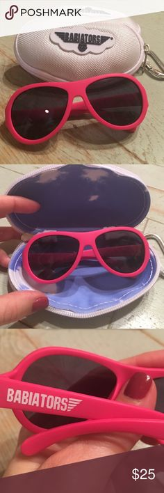 SALE Babiators in hot pink with case NWOT Hot pink Babiators in case with zipper and key hook. Never worn Babiators Accessories Sunglasses