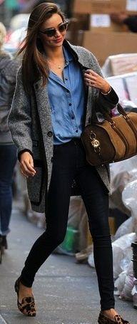 jean shirt, big grey sweater, black pants, cheetah shoes Southern Charm