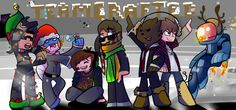 Jingle bells, Jingle bells, Jingle all the way~ (From left to right- SkydoesMinecraft, HuskyMudkipz, Deadlox, Ssundee, JeromeASF, TheBajanCanadian, and Minecraft Universe.)