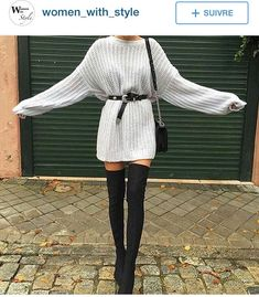 kleider für overknees 15 besten Not sure that I'd do the heals but I'm crazy about this look! Winter Fashion Outfits, Fall Winter Outfits, Look Fashion, Autumn Winter Fashion, Fall Fashion, Winter Night Outfit, Trending Fashion, Gothic Fashion, Fashion Clothes