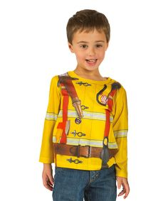 Look at this #zulilyfind! Yellow Fire Fighter Tee - Toddler by Faux Real #zulilyfinds