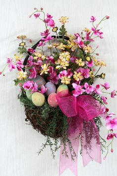 Easter Front Door Basket, Country Basket, Pink & Yellow Daisies, Pink Wild Flowers, Front Door Wreath, Easter Decor